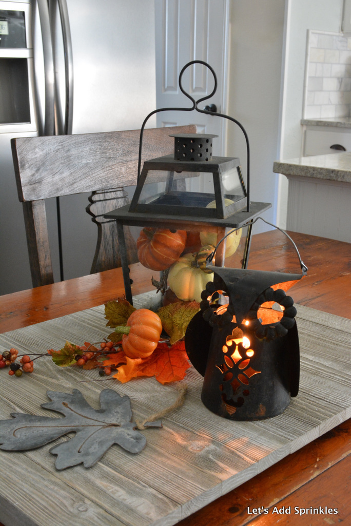 Owl lantern with candle.  Lantern filled with pumpkins, Leaves