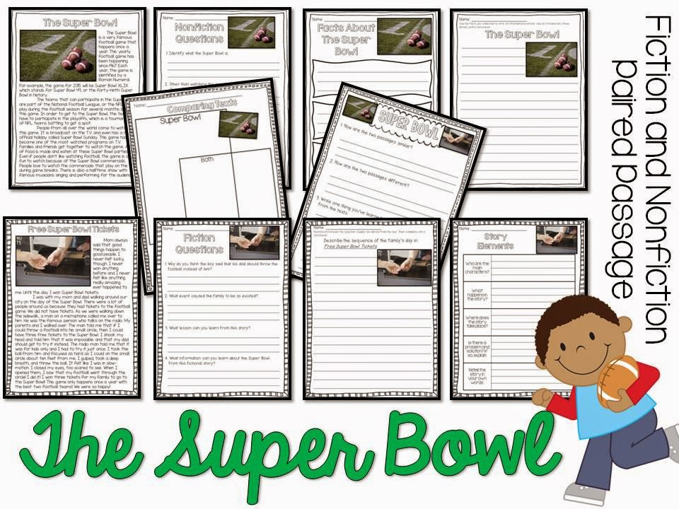 The Superbowl paired passages- fiction and nonfiction passage with comprehension pages
