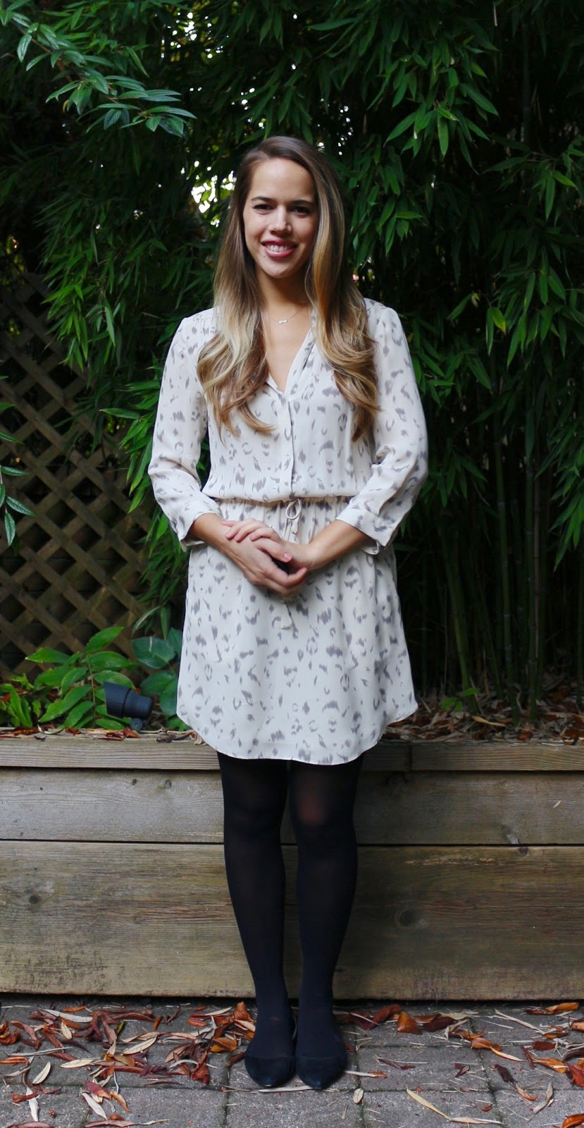 Jules in Flats - Babaton Bennett Silk Shirtdress in Snow Leopard (Business Casual Fall Workwear on a Budget)