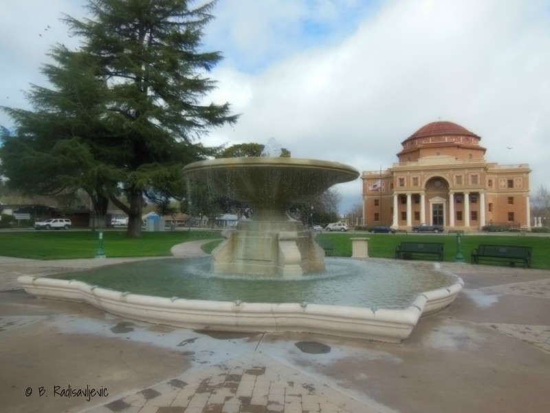 The fountain in Atascadero's Sunken Gardens overflowed during the February rains.