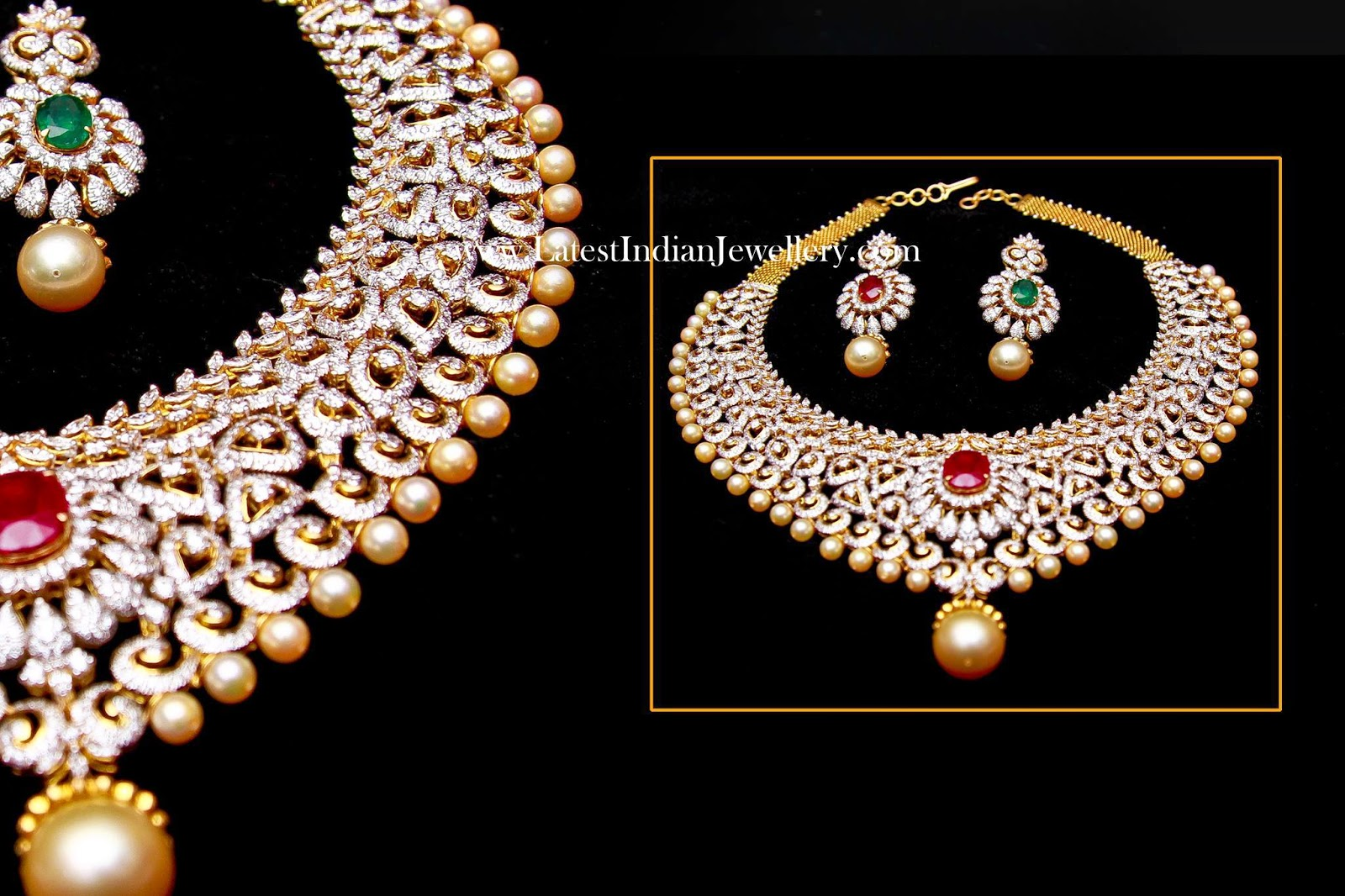 Changeable Stones Diamond Bridal Necklace Set Latest