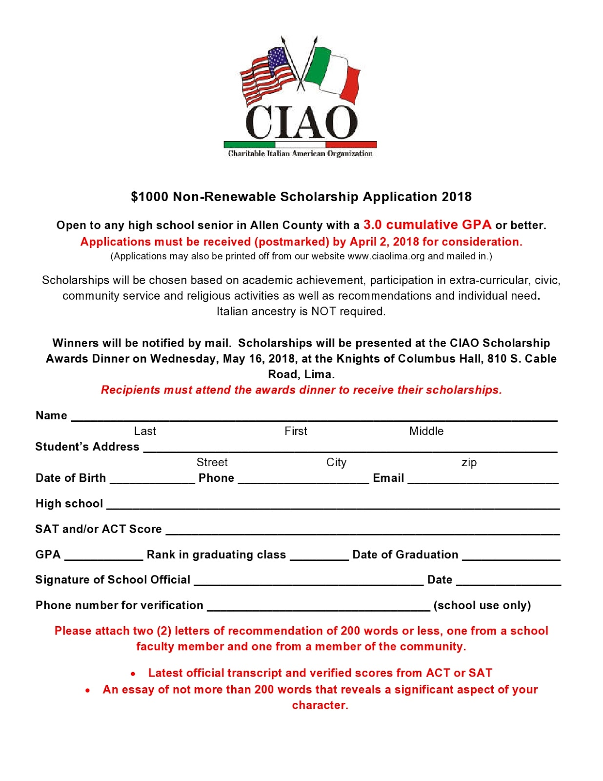 Ciao of lima ohio scholarship applications applications will also be available from the guidance counselors at most local schools thecheapjerseys Gallery