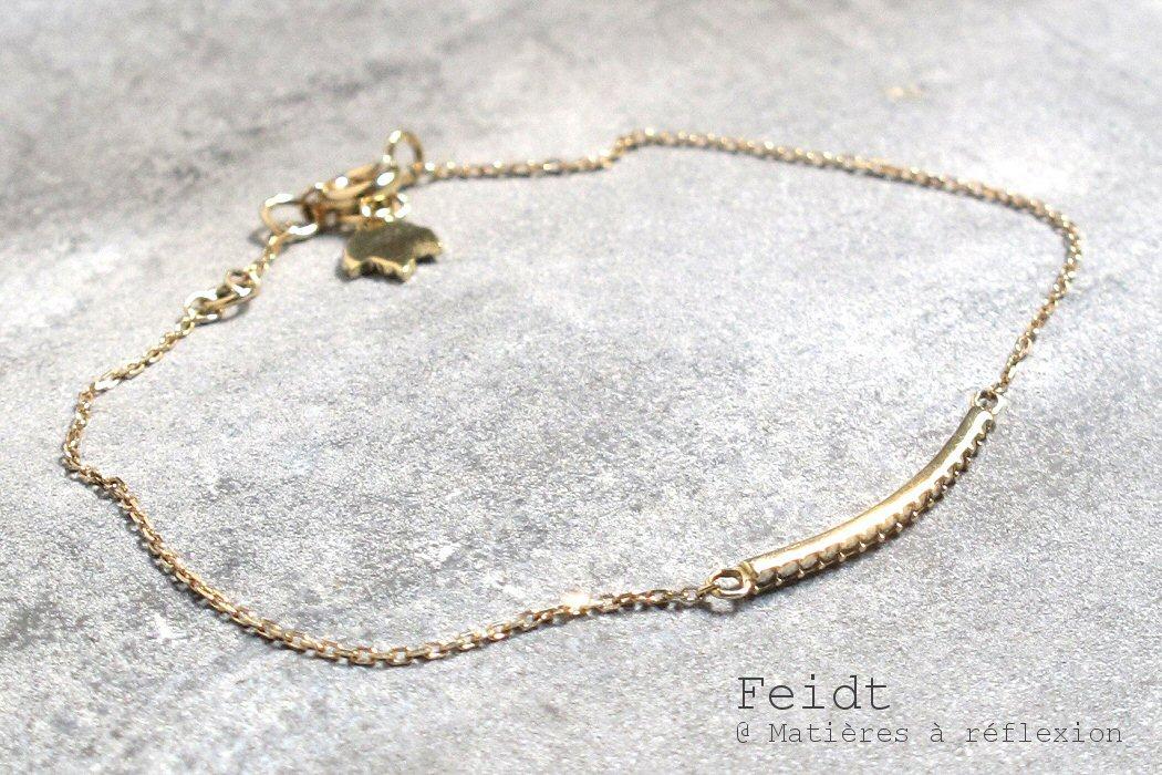 Feidt bracelet barrette Marcassites or jaune 9k