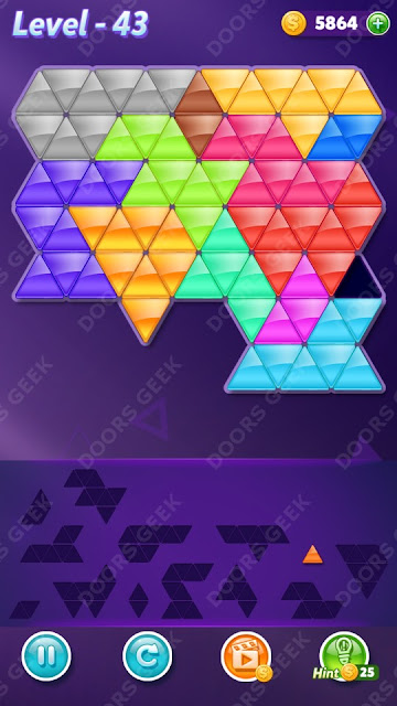 Block! Triangle Puzzle Champion Level 43 Solution, Cheats, Walkthrough for Android, iPhone, iPad and iPod