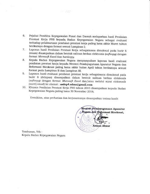 Surat Menteri PANRB Nomor : B/2810/M.PAN-RB/08/2016 Tentang Penilaian Prestasi Kerja PNS