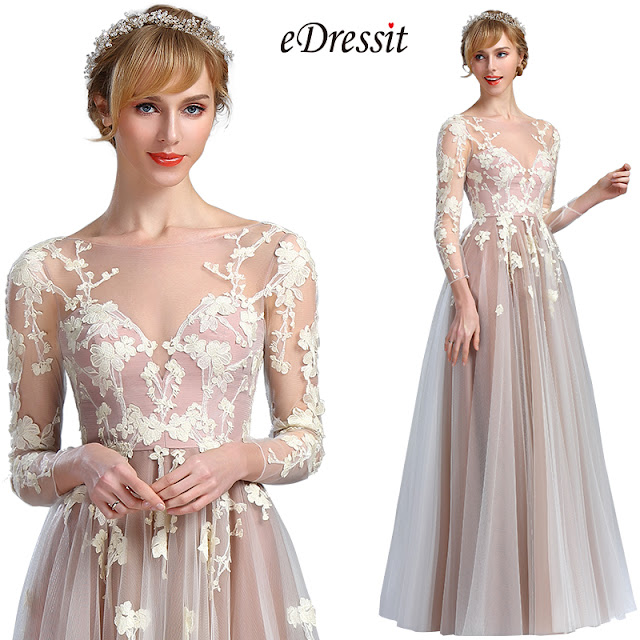 eDressit Elegant Long Sleeves Lace Appliques Fancy Prom Dress