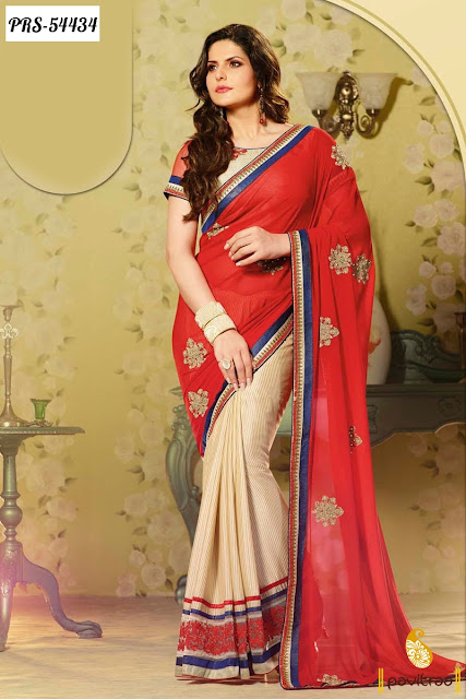 Actress Model Zarine Khan special red jacquard bollywood saree online shopping with discount offer price