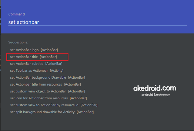 Contoh command exynap plugin android studio