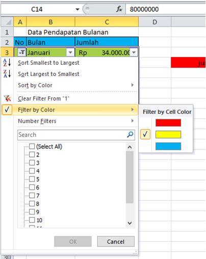 Melakukan filter data berdasarkan warna
