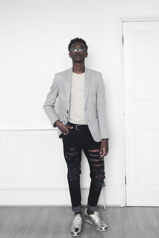 fashion, gay fashion, black gay, gay boy, adidas, blazer, zara,ripped denim, sneakers, smart clothes, silver, heather grey blazer, black, ootd, fashion blogger, menswear, mens fashion blogger
