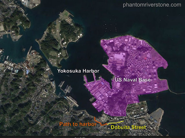 Aerial view of Yokosuka. The harbor can be reached by a short walk (marked in orange) from Dobuita Street.