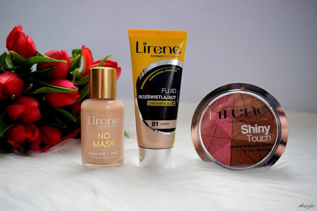 Kosmetyczne trio od Lirene: podkład No Mask, Rozświetlający fluid z witaminą c i bronzer z różem Shiny Touch.