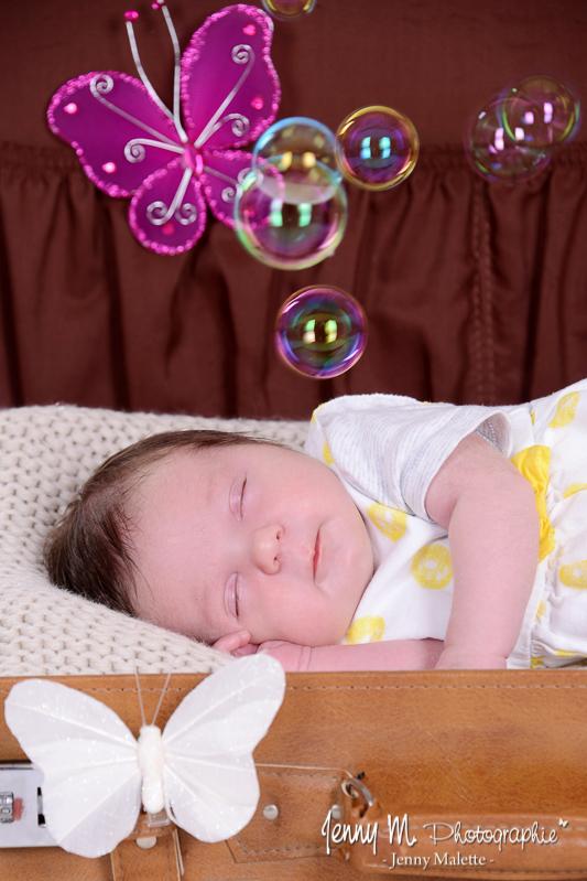 portrait bébé, photo naissance avec bulles et papillon dans valise vintage marron