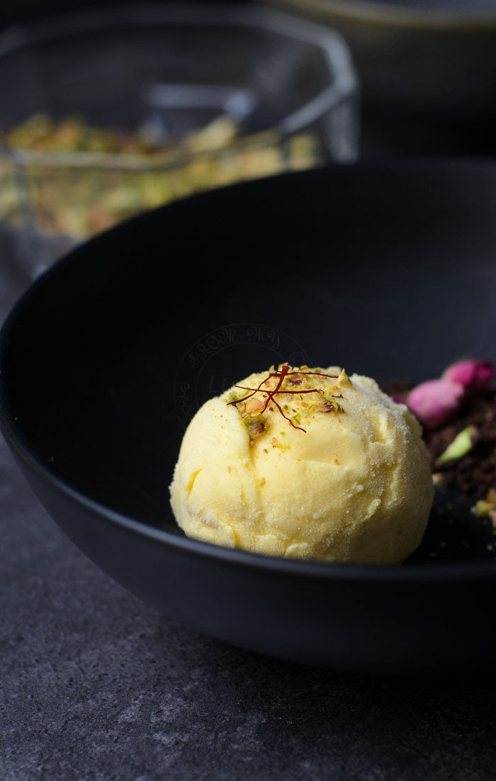 Saffron and rosewater ice-cream is delicious.