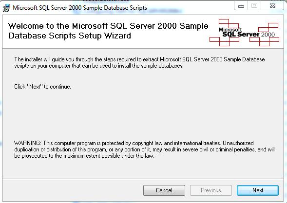 HodentekMSSS: How do I install a sample database using script?