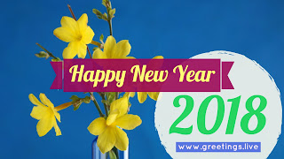 Happy New Year Wishes on winter jasmine flowers