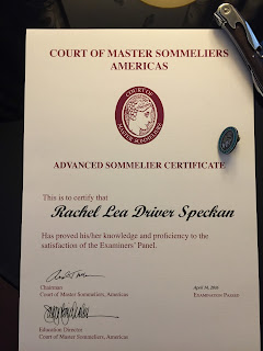 Rachel's advanced sommelier certificate