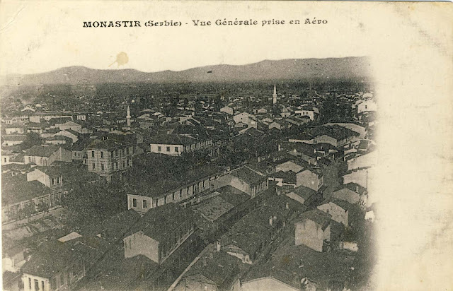 Airplane photograph of part of Bitola made in 1917 and published by French publisher Aurran from Marseille. Sent to France on July 7, 1918, with a brief greeting: Good health and kisses to all, Jean