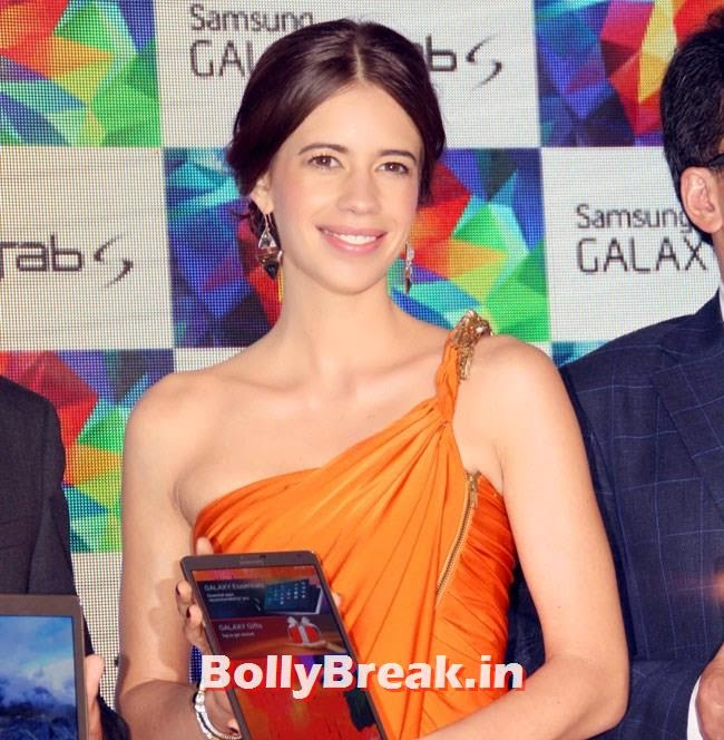 Kalki Koechlin,  Kalki Koechlin Pics in Orange Dress, Launches Samsung Galaxy Tab S