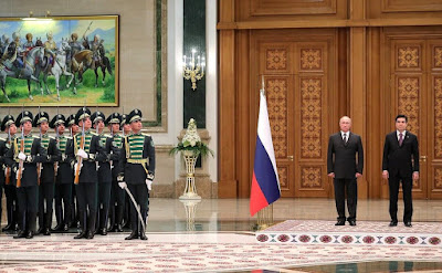 The official meeting ceremony of Vladimir Putin in Ashgabat.