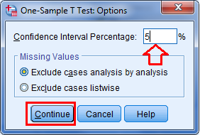 isi nilai defaul pada option spss statistik analyze