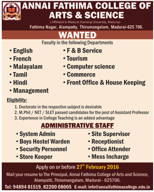 faculty wanted at annai fathima college of arts and science - Resume M Phil Computer Science