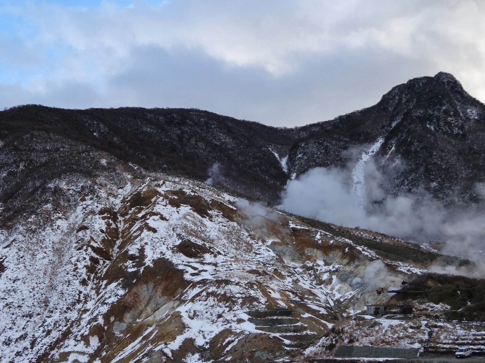 Snow and sulphur spring fumes in Hakone