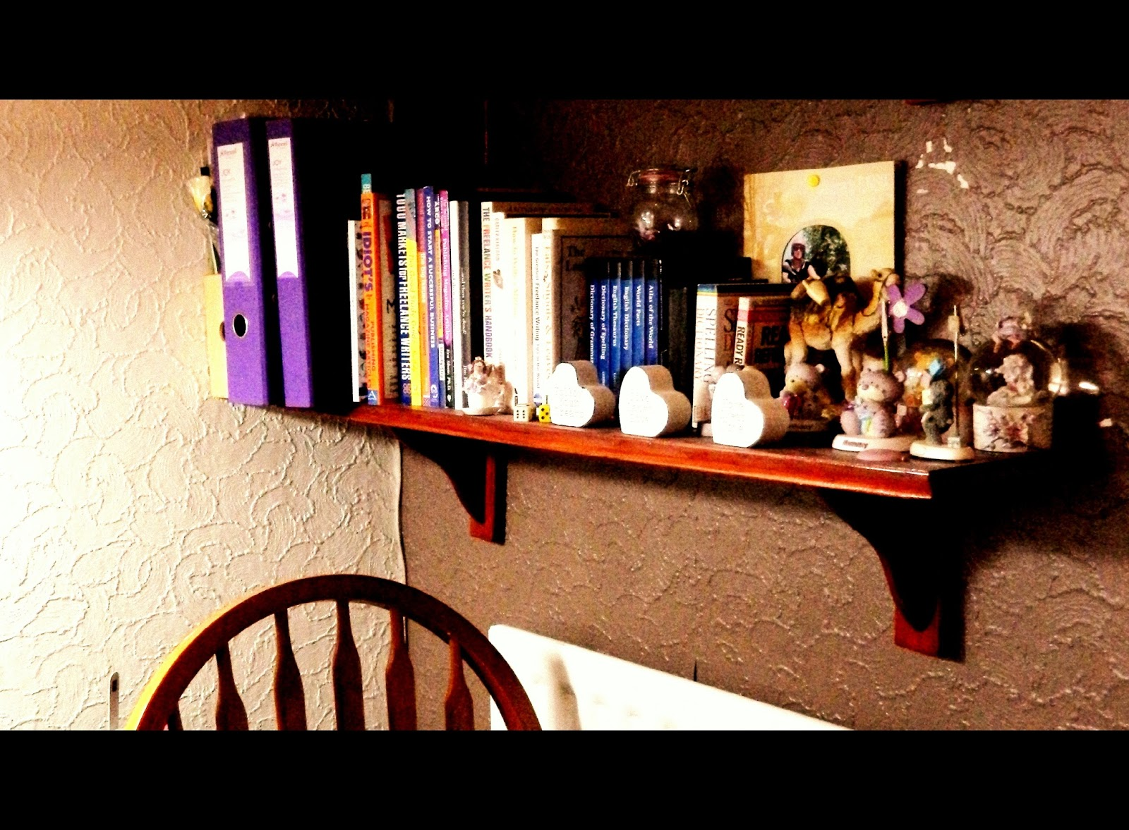 shelves, books, knick-knacks, keepsakes, memories