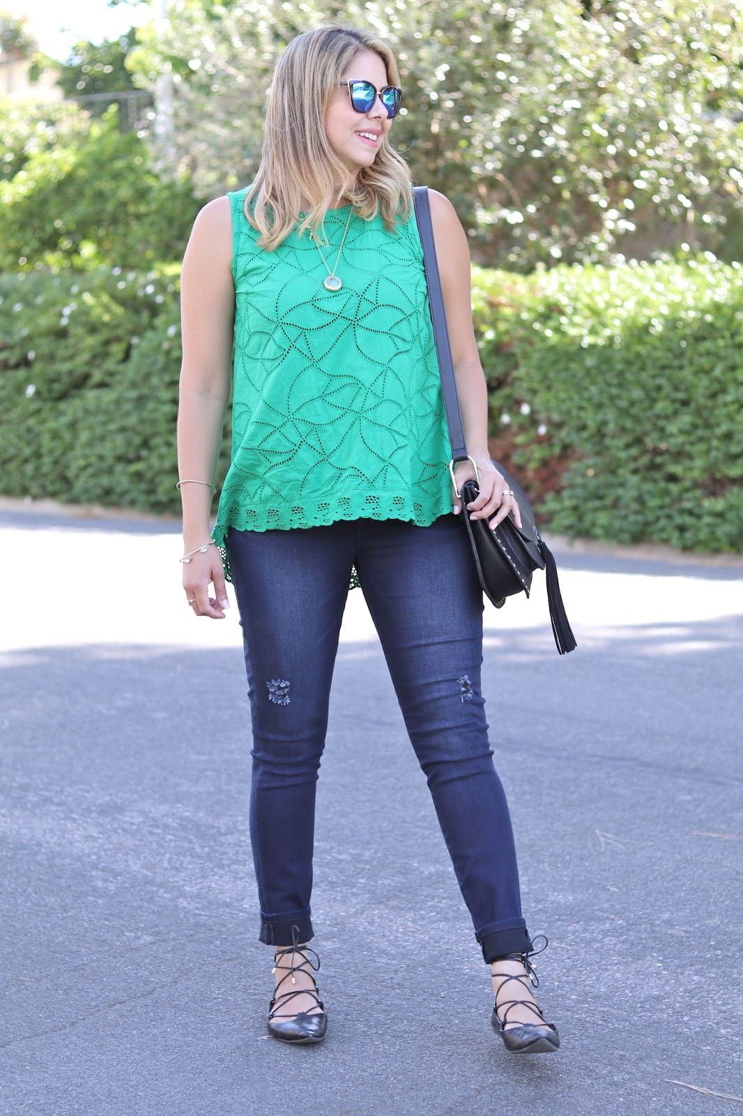 skinny jeans outfit, green top with jeans, cute casual outfit for summer, casual stylish outfit 2016