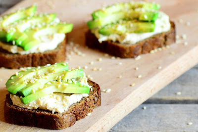 sliced avocados on the toast