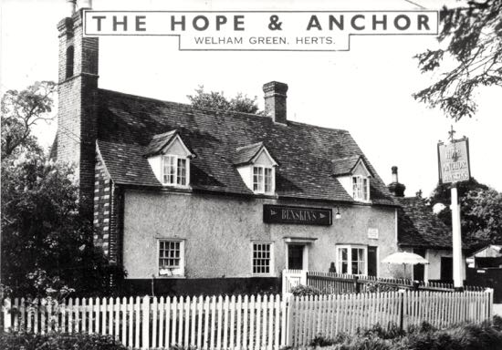 The Hope and Anchor, Station Road, Welham Green, in the 1970s  Postcard from the Peter Miller Collection