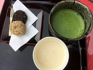 Wagashi ; japanese sweets, Matcha ; Green tea Amazake ; Sweet Sake