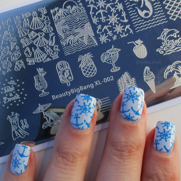 Summer Beach Holiday Rectangle Nail Stamping Plate Mermaid Theme For Manicure SKU:BBBXL-02