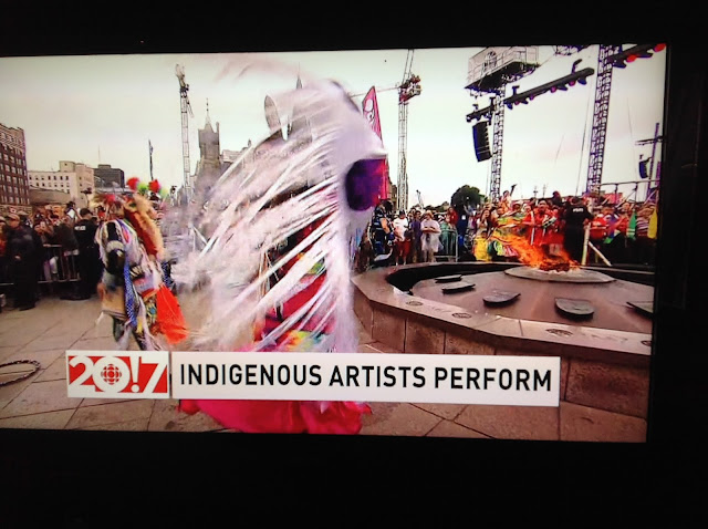 Screenshot CBC coverage Canada 150, Ottawa - Indigenous performers