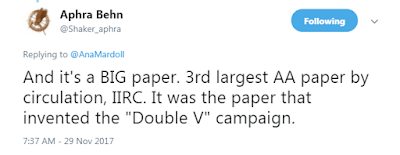 "@Shaker_aphra And it's a BIG paper. 3rd largest AA paper by circulation, IIRC. It was the paper that invented the ""Double V"" campaign."