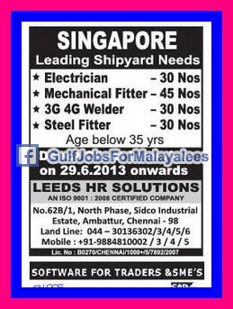 Leading Shipyard Needs Singapore Gulf Jobs For Malayalees