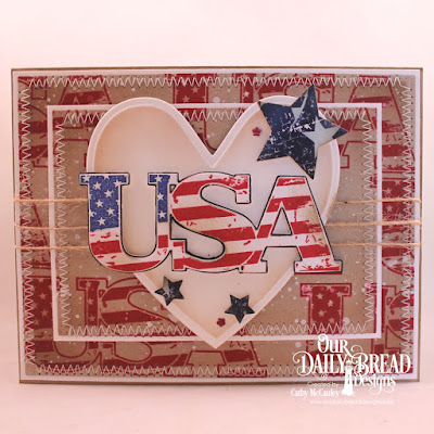 Our Daily Bread Designs Stamp: USA, Paper Collection: Stars and Stripes, Custom Dies: Pierced Rectangles, Sparkling Stars, Ornate Hearts