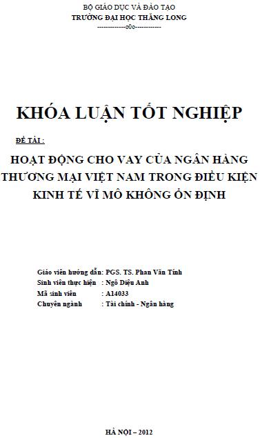 Hoạt động cho vay của Ngân hàng Thương mại Việt Nam trong điều kiện kinh tế vĩ mô không ổn định