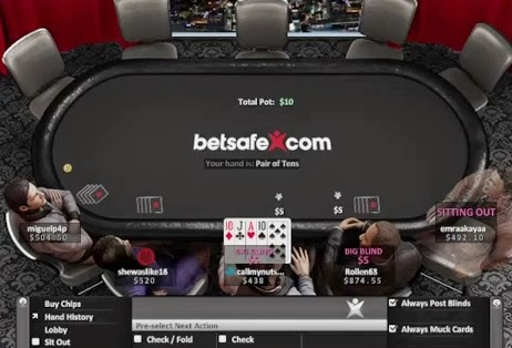 Betsafe Poker Table Screen