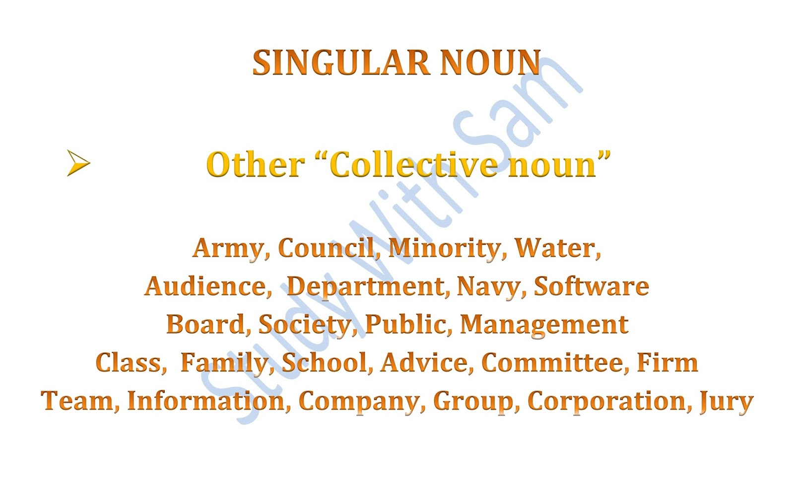Study With Sam Singular Or Plural Noun