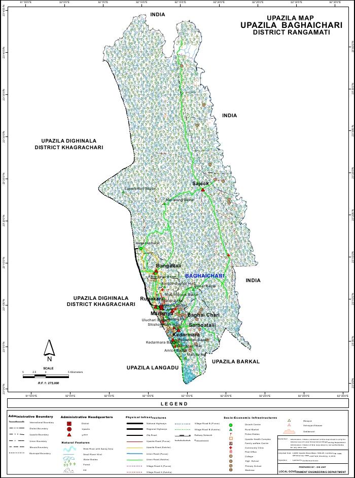 Baghaichari Upazila Map Rangamati District Bangladesh