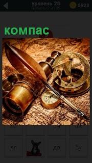 На столе развернута карта, на которой лежит компас, перо, подзорная труба и секстант