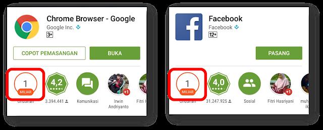 aplikasi android dengan download 1 milyar