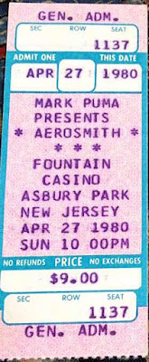 "Aerosmith ticket for the Fountain Casino April 27, 1980 at the beginning of the break-up during the ""Night In The Ruts"" Tour."