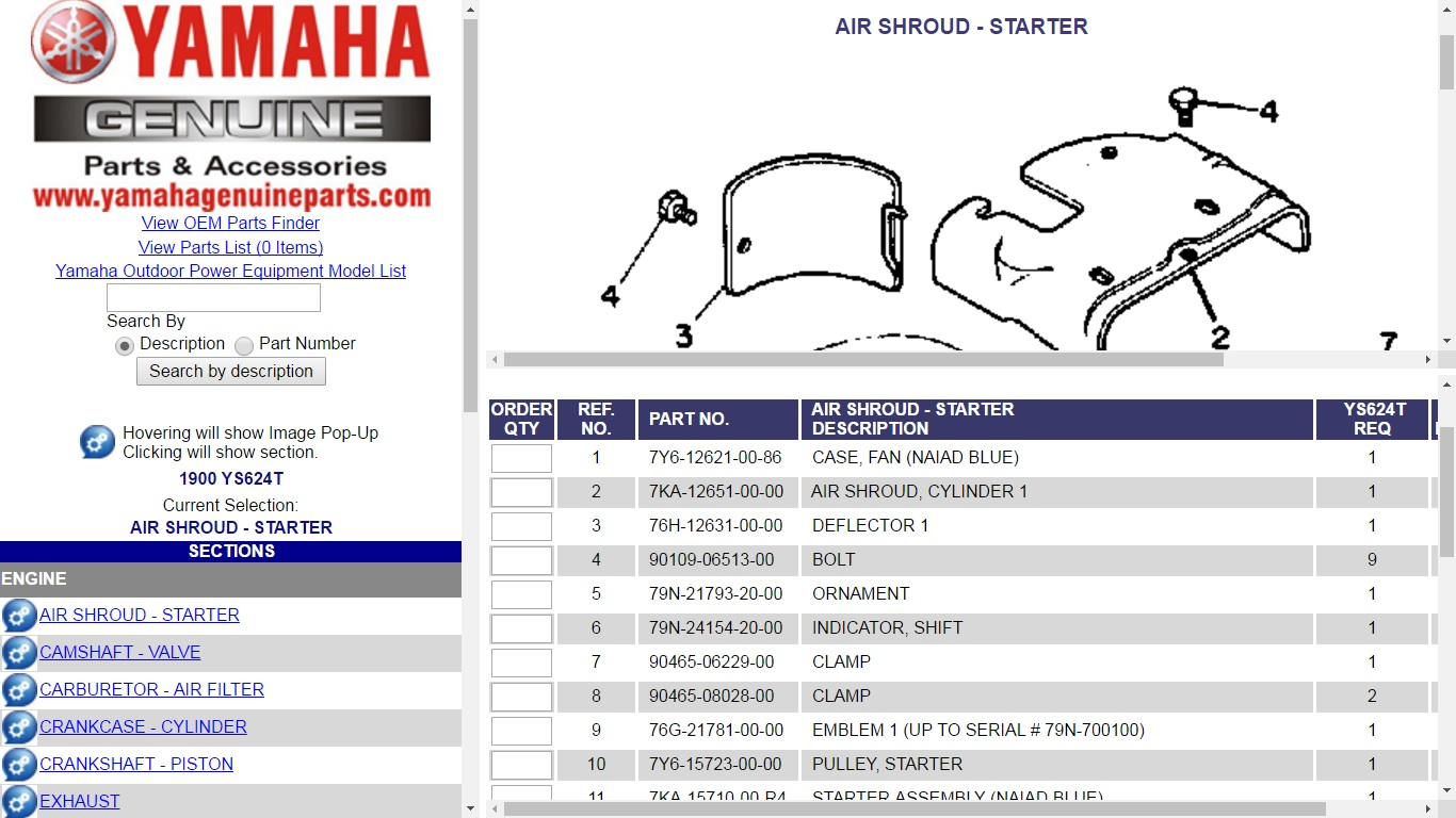 Yamahagenuinepartscom Ys828 Yamaha Snowblower Parts R6 Engine Diagram