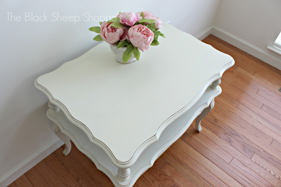 Painted end table in Old White chalk paint.