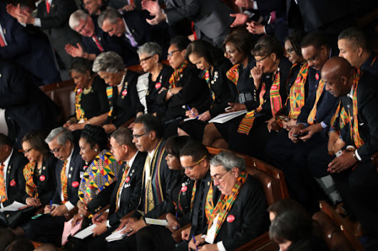 "Black Lawmakers in the US wear Kente at President Trump's 1st State of the Union Address in ""honor of Countries the President proclaimed sh_t holes"""