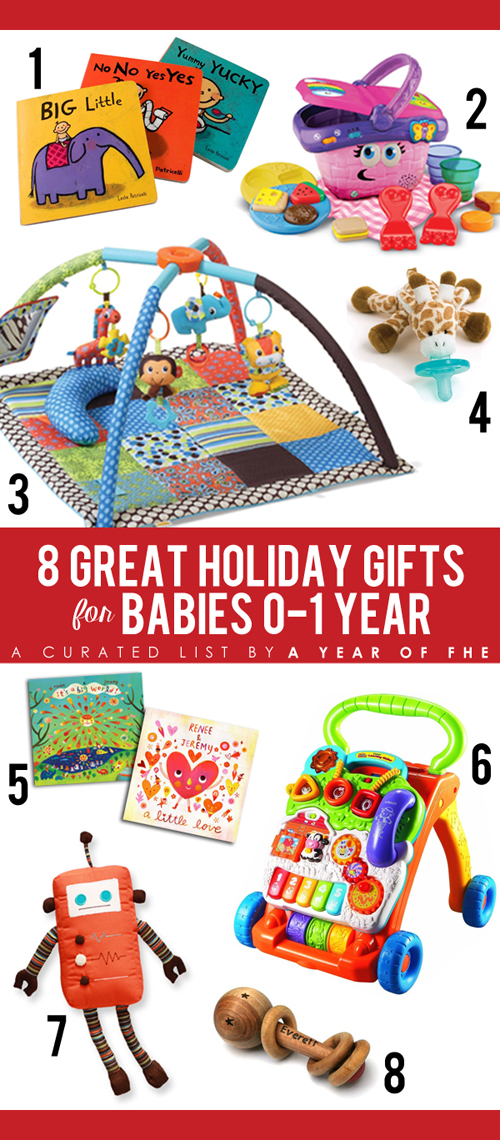 Gift Guide // 8 Great Holiday Gifts for Babies 0-1 Year old. Great ideas for Christmas!