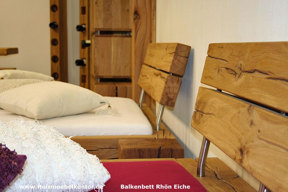Wohnkantine - Wohnideen vom Holzmöbelkontor : Balkenbett Wildeiche