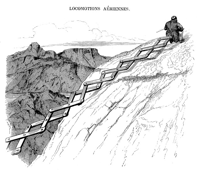 J.J. Grandville cartoon of a man ascending a mountain with a big croisillon